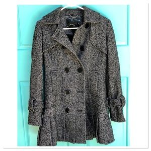 GUESS Tweed Double Breast Pea Coat